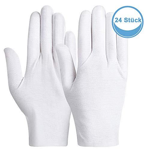 Rovtop 12 Paar weiße Handschuhe aus Reiner Baumwolle, 8,8 Zoll, Baumwollhandschuhe Werden für Schmuckinspektion, Handfeuchtigkeit, tägliche Arbeit usw. verwendet
