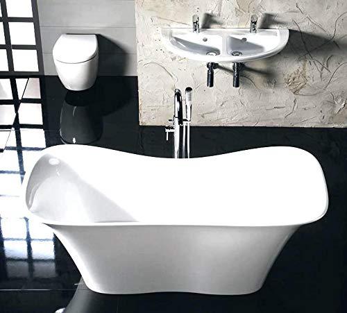 Freistehende Badewanne aus Gußstein 180x80cm, weiß