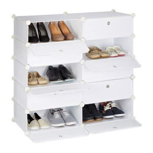 Relaxdays Schuhschrank mit 10 Fächern, Schuhregal groß, Steckregal Kunststoff, DIY, HxBxT ca. 90 x 94 x 37 cm, weiß
