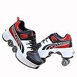 N / A Roue Chaussures de Sport Chaussures de Skate à roulettes Chaussures roulettes Fille Et garçon Entraînement Roller Skate Chaussures avec roulettes Doubles Bouton Poussoir,37,Red Black