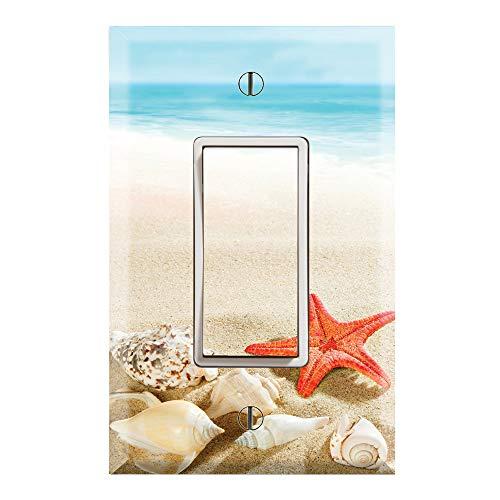 Graphics Wallplates - Sea Shells Starfish Beach Sand- Single Rocker/GFCI Outlet Wall Plate Cover