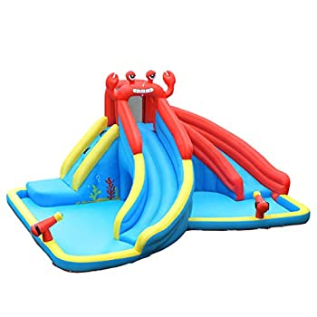 HONEY JOY Inflatable Water Slides Kids Jumping Bounce House w/2 Long Slides Climbing Wall & Large Splash Pool 2 Water Cannons & Hose Crab Themed Outdoor Inflatable Water Park  Without Blower