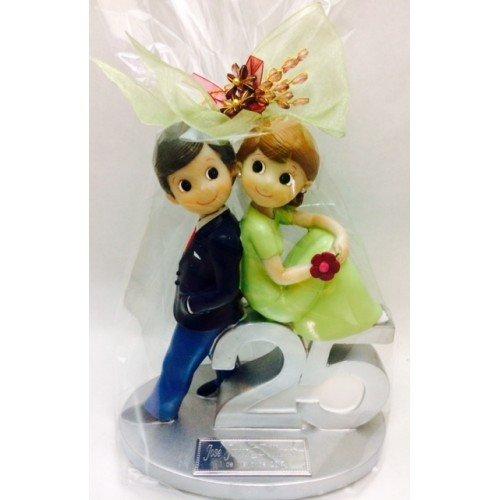 Figura bodas de plata 25 aniversario tarta GRABADA muñecos pastel PERSONALIZADOS