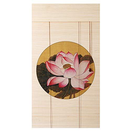 Cortinas de bambú con estampado de flores y pájaros que sombrean las persianas enrollables del porche estudio de fondo cortinas de partición decorativas, cinco estilos y varios tamaños para elegir