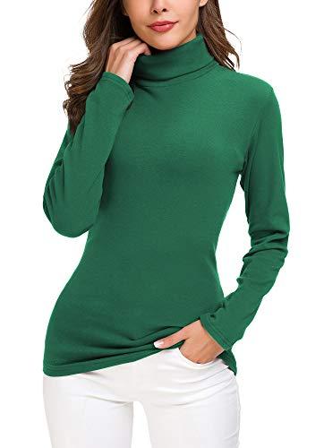 EXCHIC Damen Basic Langarm Slim Fit Rollkragen Sweatshirt (L, Dunkelgrün)