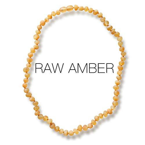 Meraki Adult Baltic Amber Necklace - Raw Unpolished Baroque Baltic Amber Necklace | Certified Genuine Baltic Amber Necklace | Honey Color (18 Inches)