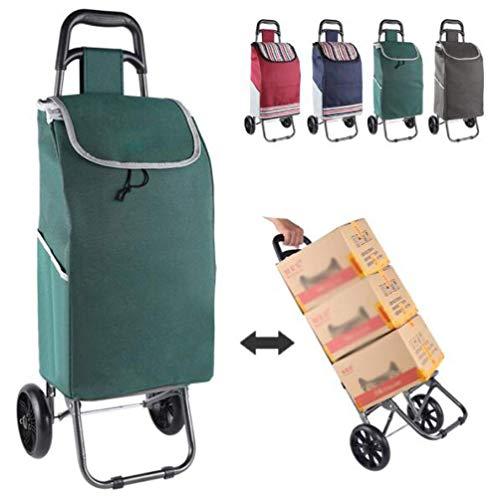 WYZXR Einkaufswagen auf Rädern faltbar kompakt mit Abnehmbarer Tasche,wasserdichter Hochleistungs-Einkaufstasche Push/Pull für Jung und Alt A/Rot