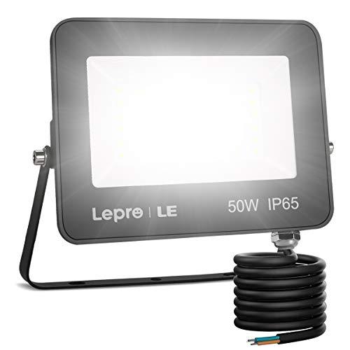 LE Foco LED 50W, 4200 lúmenes, IP65 resistente al agua, Foco LED Exterior, Blanco Frío 5000 K, Ángulo de haz 120°, Foco Proyector LED para Jardín, Garaje, Hotel, Patio, etc.