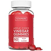 "Apple Cider Vinegar Gummies   Raw, Unfiltered ACV with ""The Mother"", Vitamin B9, Vitamin B12   Gluten-Free, Non-GMO, Vegan, 60 Count   Gummy Alternative to Apple Cider Vinegar Capsules"