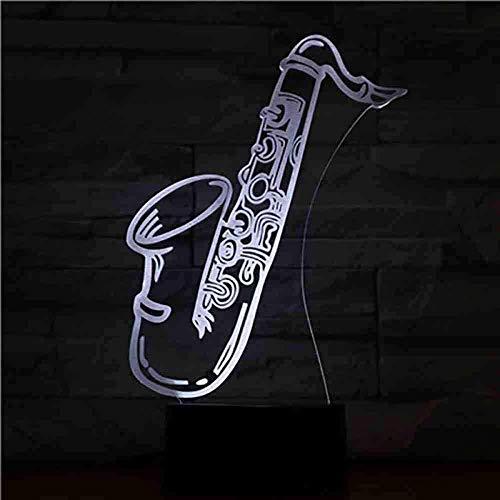 Illusion Led Noche Lightusb 3D Led Luz de Noche Saxofón Multicolor Niños Niños Niños Niños Bebé Regalos Instrumento Musical Atmósfera Lámpara de Mesa Mesita de Neón Control Remoto
