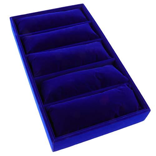 P Prettyia Bandeja para Joyería con 5 Rejillas, Almohadas, Pulsera, Reloj, Organizador del Soporte de Exhibición - Azul Profundo, Tal como se Describe