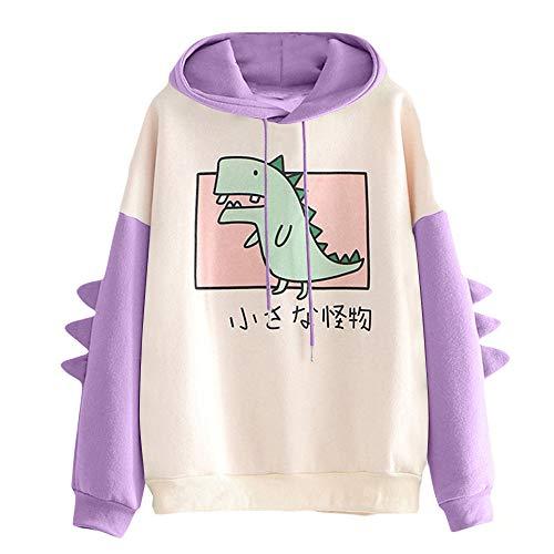 YIKEYO Sudadera Chica Adolescente con Capucha Tumblr Mujer Sudaderas Juveniles con Estampado de Kawaii Dinosaurio Casual Ropa Top Invierno Otoño