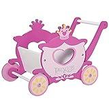 HOMCOM Einkaufswagen für Kinder, Kinderspielzeug mit Stauraum, Holz Lauflernhilfe, Spielzeug für 1-3 Jahre, MDF, Rosa, 57 x 33 x 37 cm