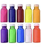 About Home Pack of 10 Rangoli Color Powder Ceramic Multicolor Chemical Free 100gms Each Rangoli Bottles with Nozzle for Diwali Navratri Pongal Pooja Festival Floor Decoration Creative Art Tubes Kit