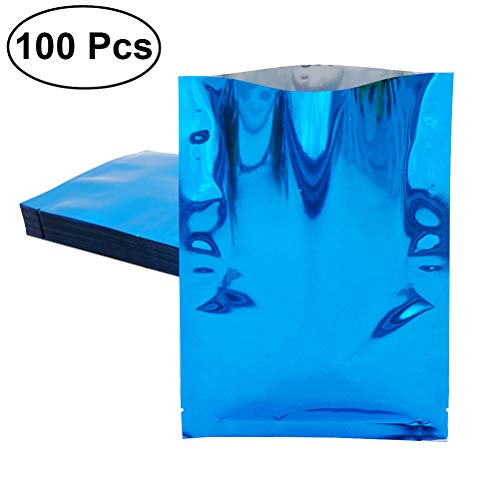 Hemoton 100 Stücke Aluminiumfolie Vakuumbeutel für Nusspulver Kaffee Bulk Lebensmittel Lagerung-8x12 cm (Blau)