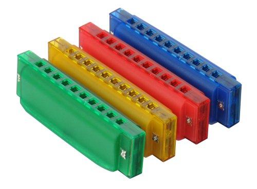 Classic Cantabile FunKids Mundharmonika (C-Dur Tonart, Lieferung farblich unsortiert in grün, gelb, rot oder blau, 20 Stimmzungen, 10 Kanzellen)
