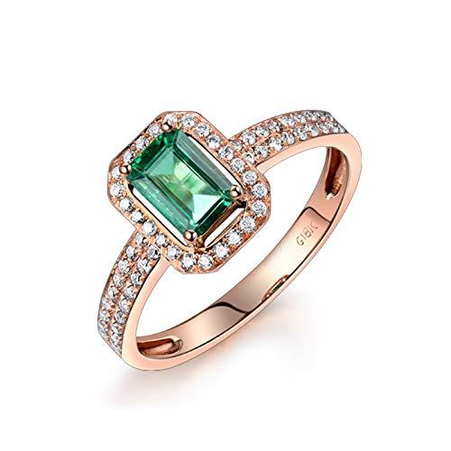 KnSam Anillo de mujer rectangular esmeralda y diamante redondo de oro blanco de 18 quilates (750), anillo de compromiso para mujer, oro rosa, anillo de compromiso, anillo de boda, oro rosa 47 (15.0)