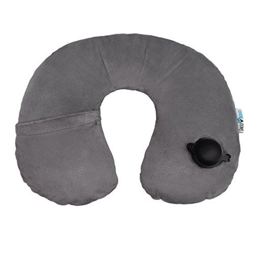 Jaco-Bolo aufblasbares Nackenhörnchen – Reisekissen – Nackenkissen - extra großes Ventil für ultraschnelles Aufblasen und Ablassen der Luft