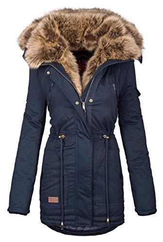 Navahoo warme Damen Winter Jacke Parka lang Mantel Winterjacke Fell Kragen B380 [B380-Daria-Navy-Gr.M]