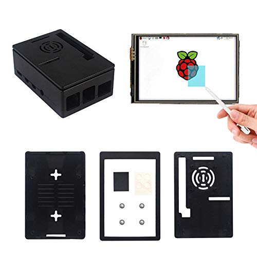 weichuang Elektronisches Zubehör, 8,9 cm (3,5 Zoll) MHS LCD-Bildschirm + Transperent/Schwarz Dual Use Box ABS Gehäuse Kit für RPi 4 Modell B Elektronikzubehör Elektronikzubehör (Farbe: Schwarz)
