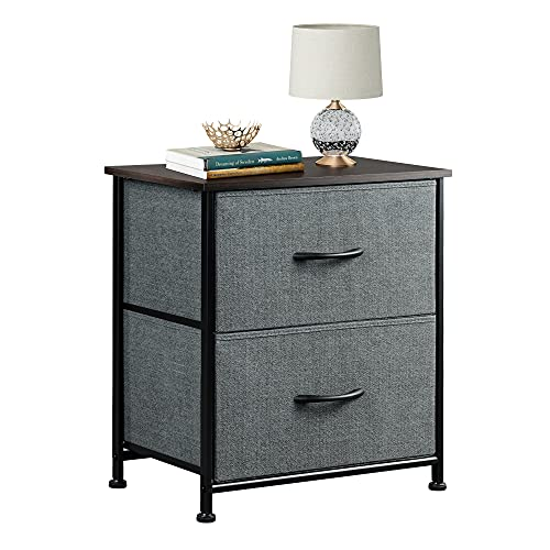 WLIVE Nightstand with 2 Fabric Drawers,Bedside Furniture & End Table Dresser for Bedroom, Living Room, Steel Frame, Wood Top, Easy Pull Handle