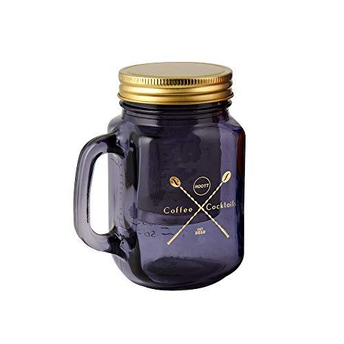 Cold Brew Kaffeezubereiter und Cocktail Einmachglas | Glas Trinkglas mit Deckel und Griff, Filter und Rezeptbuch, 450ml von Root7