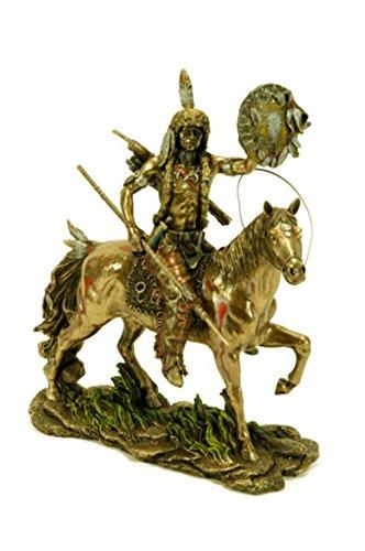 CAPRILO Figura Decorativa Resina Indio Cheyenne a Caballo. Adornos y Esculturas. Coleccionismo. 24 x 13 x 28 cm.