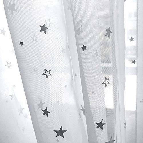 CTOBB Shiny Stars Niños Cortinas de Tela para niños Niño Niña Dormitorio Sala de Estar Azul/Rosa Cortinas Opacas Cortinas Personalizadas wp123# 30, Tul a Juego, 1 Pieza W150CM X H260CM