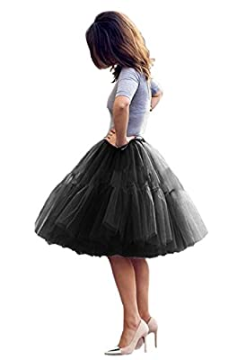 Tulle Skirt,Women's Midi Tulle Tutu Skirt Fluffy Princess Five Layers A line Party Prom Underskirt, Black, Waist:65cm-95cm by Uswear
