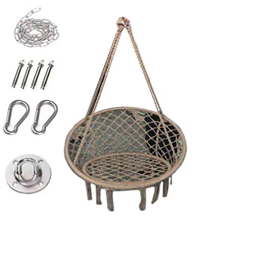 Yzzlh Swing Chair Hanging Chair with Soft Cushion & Durable Hanging Hardware Kit, Comfortable Macrame Hammock,Sturdy Hanging Chairs, for Indoor, Outdoor, Home, Patio (Brown)