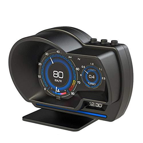 Honeyhouse Head Up Display Auto Universal Auto HUD OBD + GPS Head-Up Display Instrumento Inteligente LCD con Soporte Ajustable Alarma Luz de Error Borrar Tacómetro