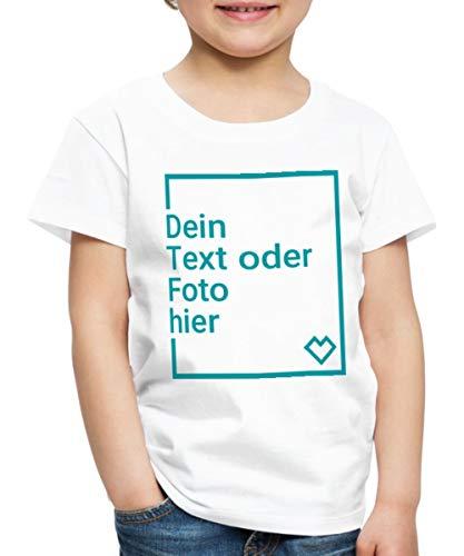 Spreadshirt Personalisierbares T-Shirt Selbst Gestalten mit Foto und Text Wunschmotiv Kinder Premium T-Shirt, 110-116, Weiß