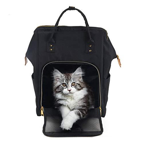 HAPPY HACHI Tragbare Haustier Tragetasche Atmungsaktiv Katze Rucksack für Reise Outdoor mit Verstellbare Gepolsterte Schulterriemen für Hunde Katze kleine Tiere (Grau)