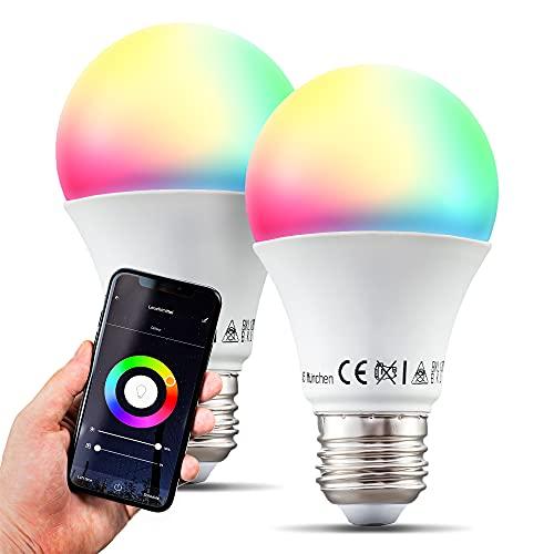 B.K.Licht I Juego de 2 lámparas LED E27 Wi-Fi I 9 vatios I 806 Lumen I RGB I CCT I Regulable I Aplicación Control de voz I iOS y Android I Bombilla WLAN I Bombilla inteligente