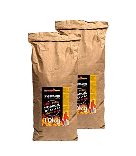 2x 10 kg QUEBRACHO Holzkohle Körnung 40-170mm Holzkohle für BBQ, Grillkohle groß, Steakhouse Qualität