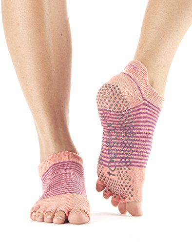 Toesox Half Toe Low Rise Grip Socken für Yoga, Pilates, Fitness rutschfeste Skid Socken - 1 Paar (Small, Persimmon Stripe)