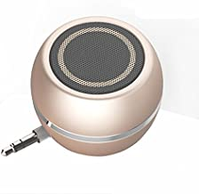 Rumfo Mini Phone Speaker Portable Wireless Plug in Speaker with 3.5mm Aux Audio Jack Rechargeable Plug and Play Clear Bass Speaker Universal for Cell Phone iPad MP3 MP6 Tablet Computer (Gold)