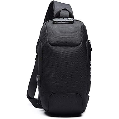 [OZUKO] ボディバッグ メンズ 大容量 ワンショルダー 盗難防止 ショルダーバッグ 斜めがけ 大容量 防水 USBポート付き iPad収納可能