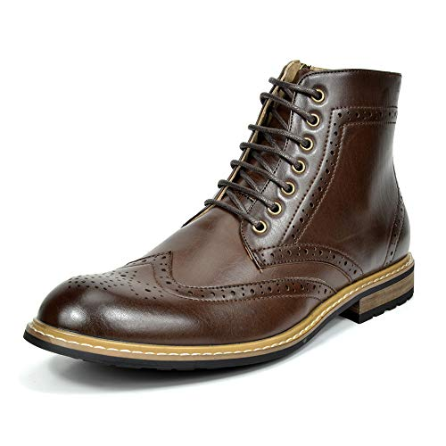 Bruno Marc Men's Dress Ankle Motorcycle Boots Leather Lined Derby Oxfords Bergen-01 Dark Brown 9.5 M US