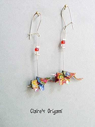 Vielfarbig Elefant Origami Papier Ohrringe/im gefaltete Magazin Papier/einzigartig handgemacht Geschenk