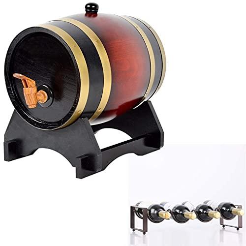 GAXQFEI Whiskey Barrel 15L, Cubo de Alenamiento de Madera con Grifo con Bastidor de Botellas para Alenar Sus Espíritus Favoritos, Bebidas, Miel (Amarillo, 15L), Bastidores de Vinos,Color Rojo Oscuro,