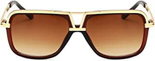 QWKLNRA - Gafas De Sol para Hombre Marco De Color Dorado Lente Marrón Gafas De Sol Vintage Shades Mujer Hombre Forma Cuadrada contra-UV Espejo Clásico Moda Hombre Gafas De Sol Señoras Sombras Uv400