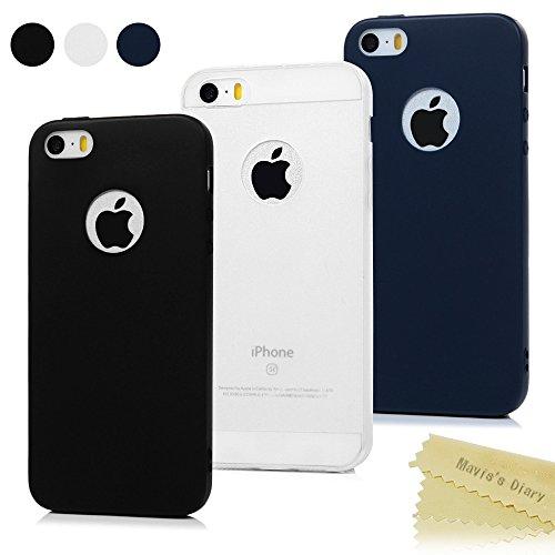 3x Funda iPhone SE, Carcasa iPhone 5S Silicona Gel - Mavis's Diary Mate Case Ultra Delgado TPU Goma Flexible Cover para iPhone 5/5S/SE - (Negro + Azul oscuro + Bianco trasparente)