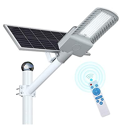 Solar Street Lights Dusk to Dawn, 120W LED Flood Lights Outdoor with Remote Control, 8100 Lumens Motion Sensor Waterproof, Led Security Pole Light for Yard, Garden, Pathway(Mounting brackets Included)