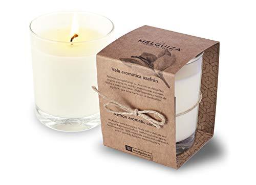 La Melguiza - Vela aromática en Vaso de Cristal perfumar tu casa con un Delicado y Original Aroma de azafrán, Cuero y Otras Especias. Hecha a Mano con Ceras 100% Vegetales y Mecha de algodón