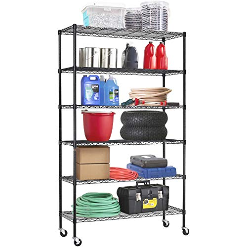 FDW Wire Shelving Unit with Wheels Steel 6 Tier Heavy Duty Layer Rack Storage Metal Shelf Garage Organizer Wire Rack Shelving Adjustable Utility 2100 LBS Capacity-18x48x82 inch (Black)
