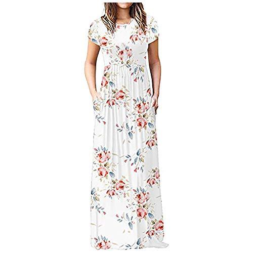 Dosoop - Vestidos de verano para mujer, estilo casual, con estampado degradado, manga corta, cuello redondo, columpio, playa, Blanco, XXL
