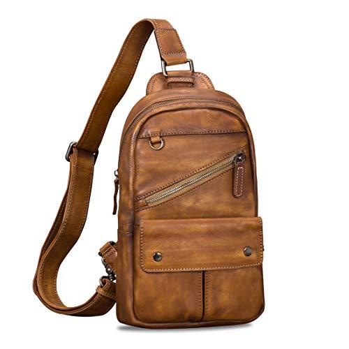 Genuine Leather Sling Bag for Men Vintage Handmade Crossbody Daypack (Brown)