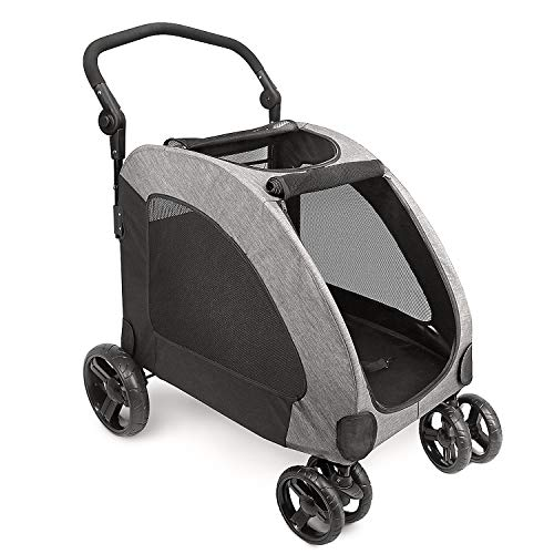 IREENUO Dog Stroller, 4 Wheels Pet Jogger Wagon Foldable Cart, Adjustable Handle, Zipper Entry, Skylight Window Stroller Suitable for Variety Roads with Back Pocket for Medium Large Dog Traveling Gray