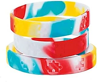 50 Autism Awareness Puzzle Bracelets 7 1/2 Inches Autism Awareness Support